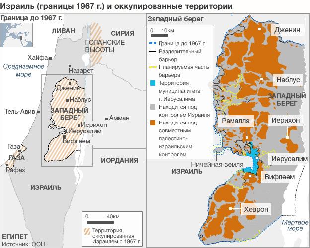 Карта Палестины и оккупированных территорий