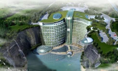 В Китае строят пятизвездочный отель в заброшенной каменоломне