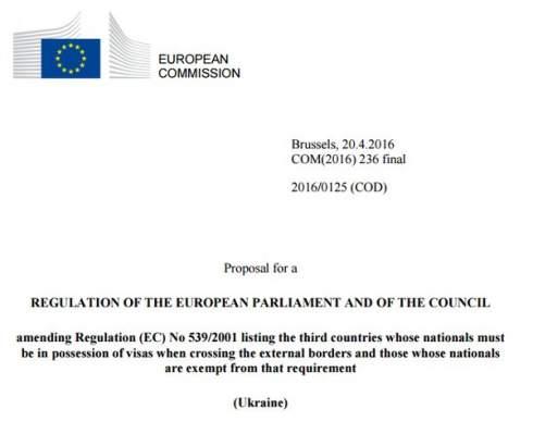 ЕК предложила Совету ЕС отменить визы украинцам