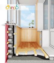 """Г-образный балкон, остекление под ключ в фирме """"ОКна 5"""""""