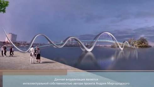 В Киеве построят пешеходный мост в виде волн. Он соединит Оболонскую набережную с парком