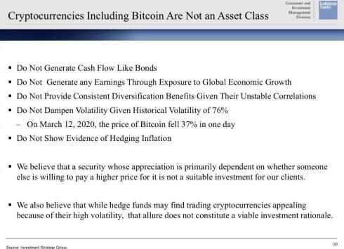 Goldman Sachs: биткоин и другие криптовалюты не являются классом активов