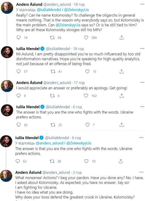 Мендель поспорила с экономистом Аслундом из-за статьи о президенте и олигархах